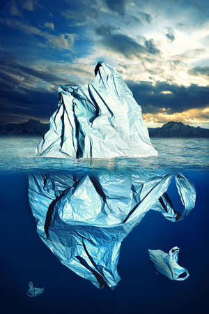 Pollution, Pastic Bag floating in the sea like an iceberg