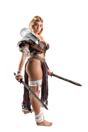 Ancient woman warrior or Gladiator isolated in white Foto de archivo