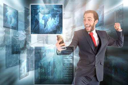 Happy businessman or stock broker with mobile phone