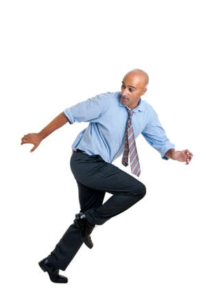 Businessman running against a white background