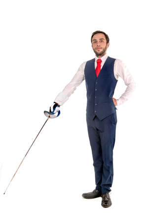 Male fencer businessman, ready for a duel isolated in white background