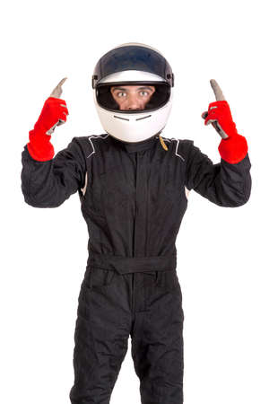 Victorious racing driver posing with helmet isolated in white Zdjęcie Seryjne