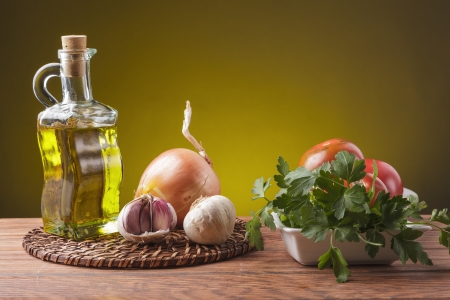 still life with essential ingredients of the Mediterranean diet
