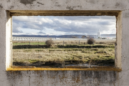 window of a ruined factory photo