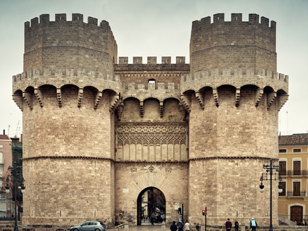 nobility: VALENCIA, SPAIN - MARCH 20: Gothic style Torres de Serrano on March 20, 2015 in Valencia, Spain was built in 1391 was considered the flamboyant trade gate of Valencia. The towers were also a prison for nobility 1586 -1887.