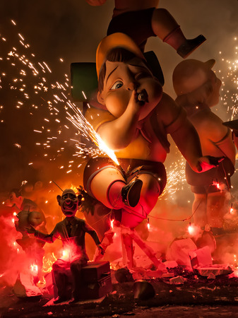Crema in Fallas of Valencia on March 19 night all figures are burned as end of celebration