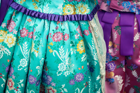 failures: falleras costume fallas dress detail from Valencia Spain fest celebration
