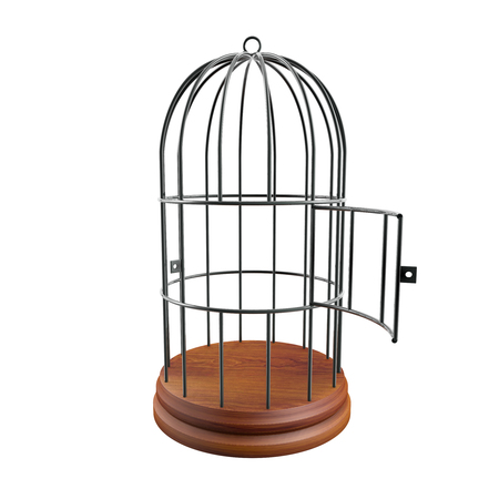 empty cage with the door open Stock Photo