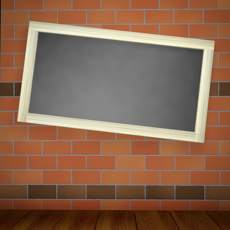 wood frame: blackboard on a brick wall