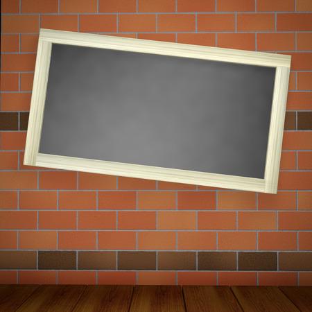 brick and mortar: blackboard on a brick wall