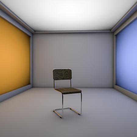 houten stoel op een lichtbak