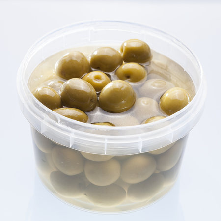 olives in a plastic pot
