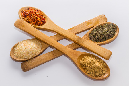 various spices to cook a variety of flavors ginger chili garlic thyme photo