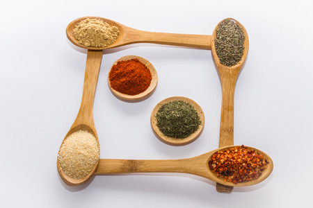 various spices to cook a variety of flavors ginger chili garlic thyme fenugreek red peppers dill nutmeg photo