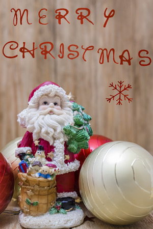 customs and celebrations: Santa Claus with Christmas balls for the tree