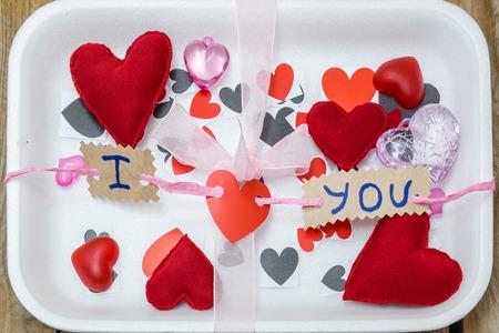 love hearts: supermarket tray full of love hearts to sell