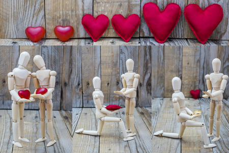 declaring: Three images of a man asking for marriage and declaring his love for a woman under a group of hearts Stock Photo