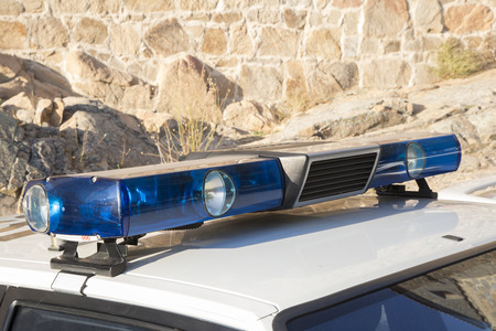 lightbar: sirens and lights of an old police car off Stock Photo
