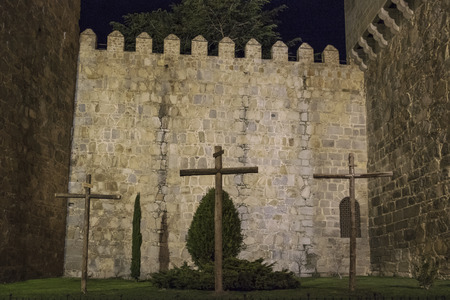avila: Perfectly preserved medieval walled town the night of the city of Avila in Spain views