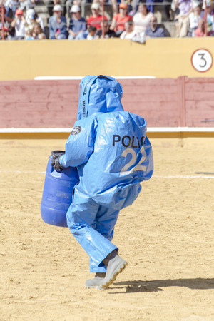 Avila, Spain - September 24, 2016 - police with protective gear against biological risk