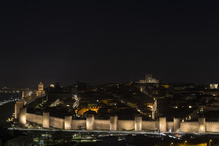 Night view of the walled city of Avila