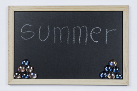 Space chalkboard background texture with wooden frame with the word Summer. blackboard space for wallpaper. Landscape mounting style horizontal. Stock Photo