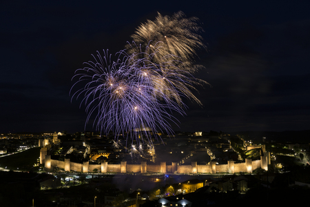 night views of fireworks in the city of Avila in Spain, medieval walled city perfectly preserved Stock Photo