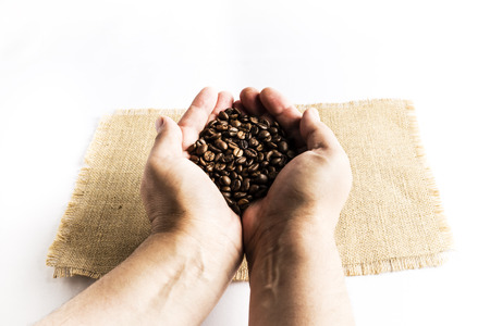 Man hands releasing a pile of coffee beans on a raffia cloth tablecloth on a white background