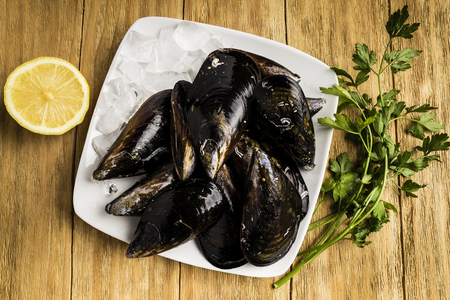 Mussels, parsley and half a lemon on white plates with ice
