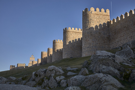 views of the city of Avila in Spain, perfectly preserved medieval walled city