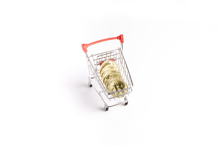 bitcoin gold coins in the shopping cart