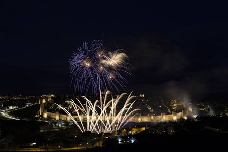 Avila, Spain, fireworks in the beautiful walled city Stock Photo