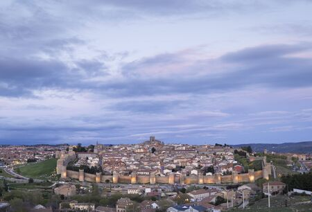 Beautiful panoramic view of the medieval walled city of Avila in Spain