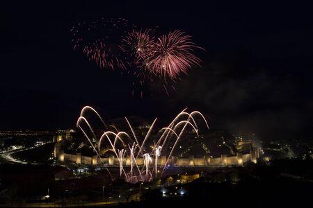 Avila, Spain, fireworks in the beautiful walled city Reklamní fotografie