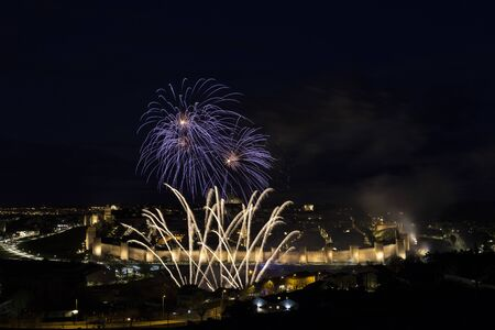Avila, Spain, fireworks in the beautiful walled city Stok Fotoğraf