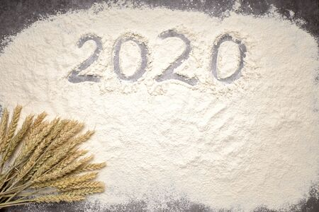 Happy New Year 2020. Symbol from number 2020 and wheat on farina background