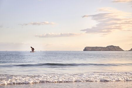 View of a beach at dawn in northern Spain. concept tourism and nature.