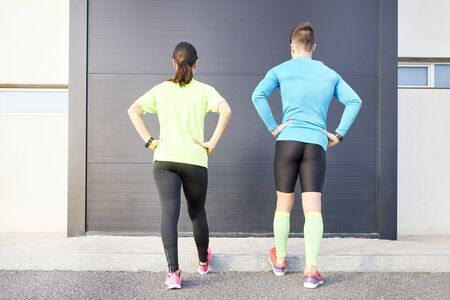 runners performing running technique to avoid injuries - Sport concept, training, technique