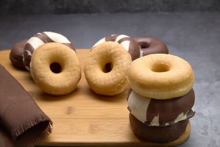 delicious group of sweet donuts. food concept