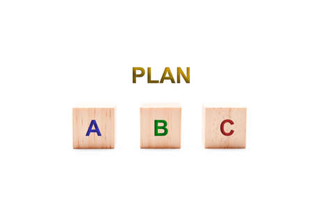 Word PLAN with options A, B and C on a white background. Business concept