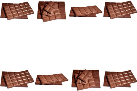 Milk chocolate tablets isolated. White background. Concept dessert