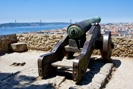 aerial view over Lisbon, Portugal, with cannon of a castle Reklamní fotografie