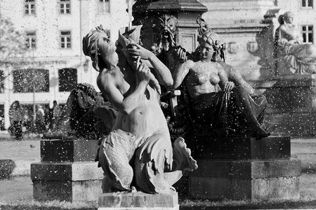 public space: Fountains in the public space with water in Lisbon, Portugal