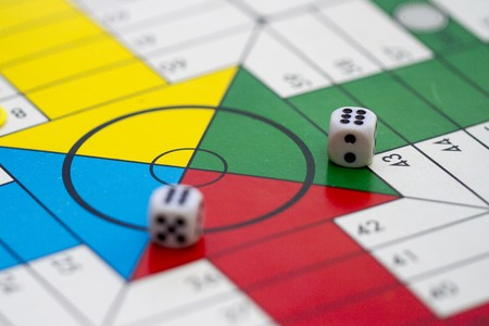 ludo: Pieces used in several dice games Stock Photo