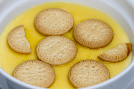 custard puddings flavored with cookies Stock Photo
