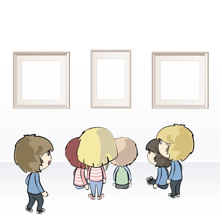Group of kids watching frames in museum  Vector illustration  Stock Vector - 16502010