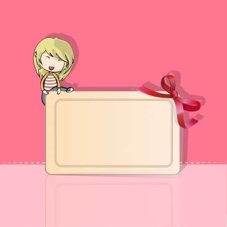 Girl over an invitation with red ribbon Vector