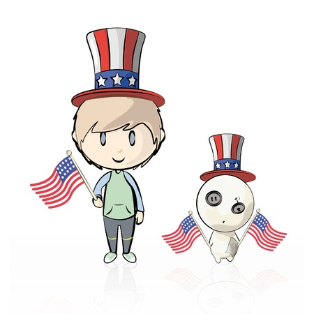 Child and teddy dressed as American with flags. Vector illustration.  Stock Vector - 16597350