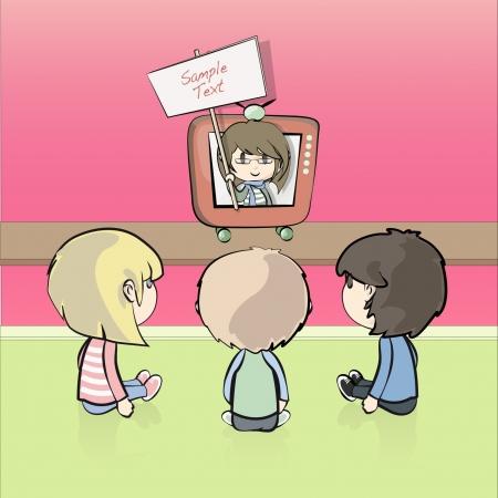 Children watching a TV reporter