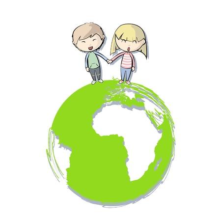 Couple around a planet  Vector design  Stock Vector - 16598782